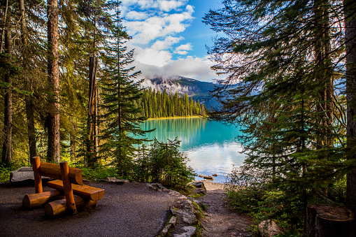 Yoho National Park「Wooden bench at mountain lake」:スマホ壁紙(14)