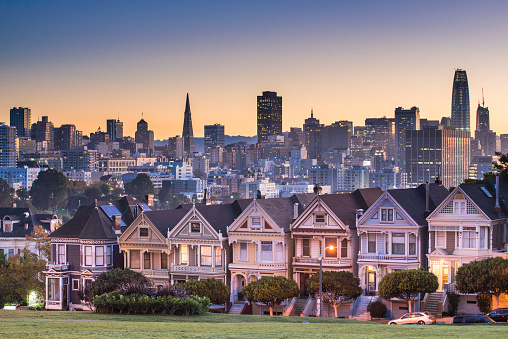 San Francisco - California「Alamo square and Painted Ladies with San Francisco skyline」:スマホ壁紙(14)