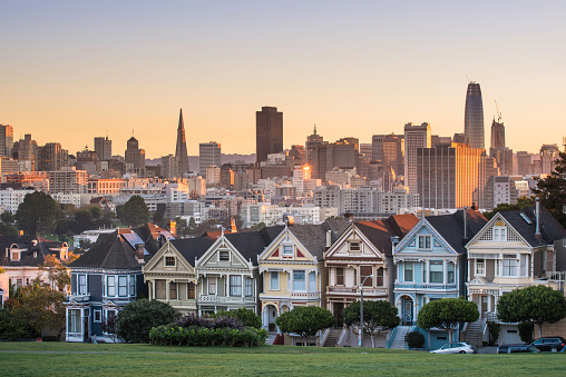 Famous Place「Alamo square and Painted Ladies with San Francisco skyline」:スマホ壁紙(7)