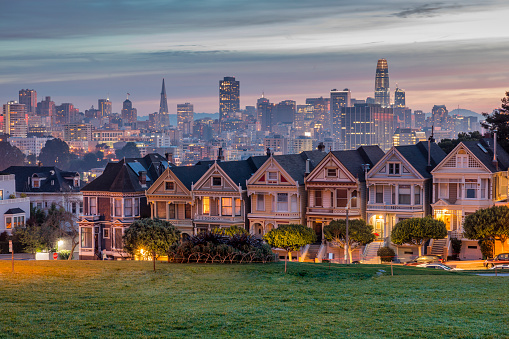 19th Century「Alamo square and Painted Ladies with San Francisco skyline」:スマホ壁紙(9)