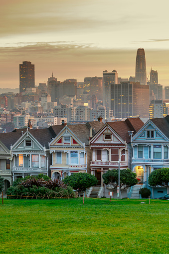19th Century「Alamo square and Painted Ladies with San Francisco skyline」:スマホ壁紙(17)