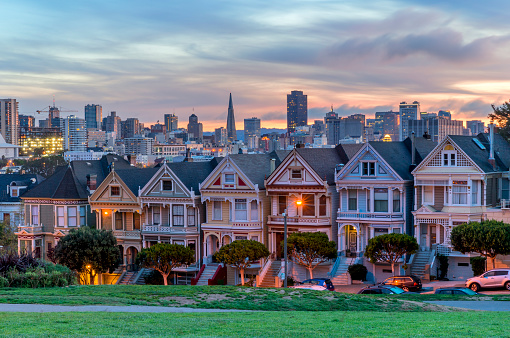 19th Century「Alamo square and Painted Ladies with San Francisco skyline」:スマホ壁紙(3)