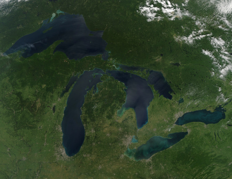 Lake Huron「August 28, 2010 - Satellite view of a cloudless summer day over the entire Great Lakes region. 」:スマホ壁紙(11)