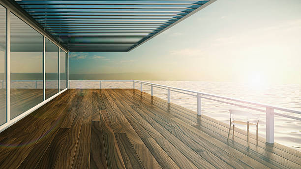 Roofed terrace of luxury residential house at the sea:スマホ壁紙(壁紙.com)