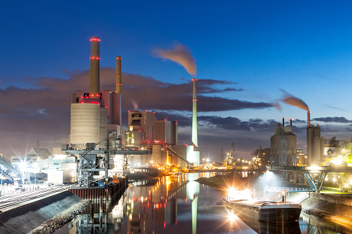 Industrial Building「Coal-Fired Power Plant at Dusk, Germany」:スマホ壁紙(6)