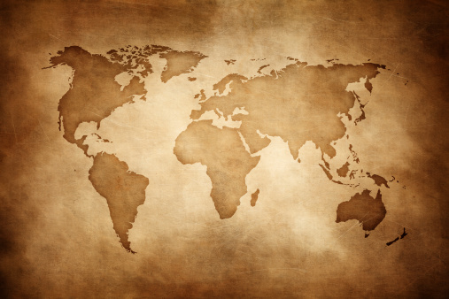 Sepia Toned「Aged style world map, paper texture background」:スマホ壁紙(1)