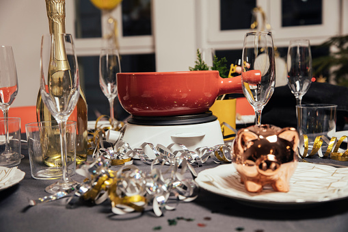 festive food for the New Year「Laid table with cheese fondue for New Year's Eve party」:スマホ壁紙(16)