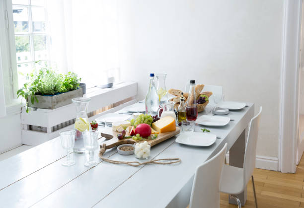 Laid table with fruit, cheese and bread:スマホ壁紙(壁紙.com)