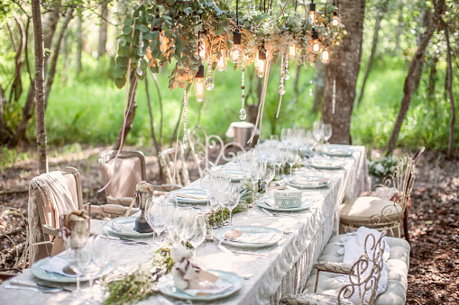 結婚「Laid table for a wedding under trees」:スマホ壁紙(9)