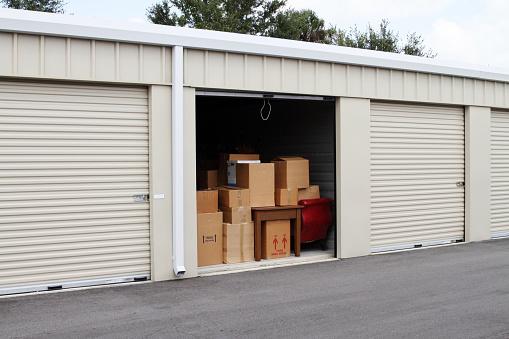 Storage Compartment「Self storage warehouse with single storage unit open to」:スマホ壁紙(17)