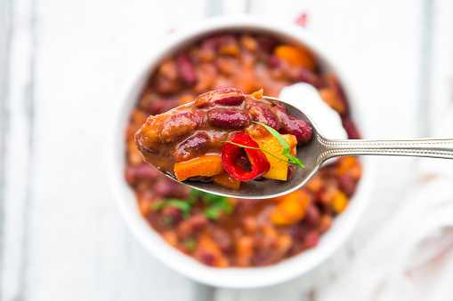 Sour Cream「Spoon of Chili con Carne with fresh coriander」:スマホ壁紙(19)