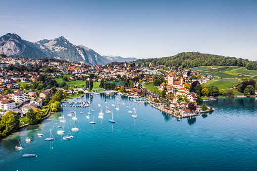 Swiss Alps「Spiez castle by lake Thun in Canton of Bern, Switzerland」:スマホ壁紙(8)