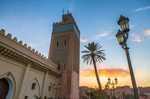 North Africa「Mouley El Yazid Mosque against sky at dusk, Marrakesh, Morocco」:スマホ壁紙(13)