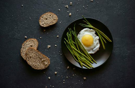 Asparagus「Bread and crumbs near plate with fried egg and asparagus」:スマホ壁紙(15)