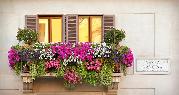 Italian Culture「A balcony with multicolored flowers」:スマホ壁紙(6)