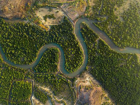 島「Indonesai, Lombok, Tropical river from above」:スマホ壁紙(1)