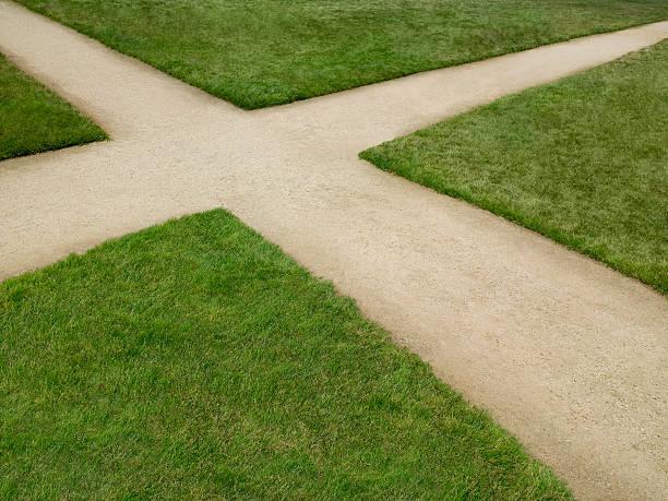Dirt crossroad surrounded by grass:スマホ壁紙(壁紙.com)