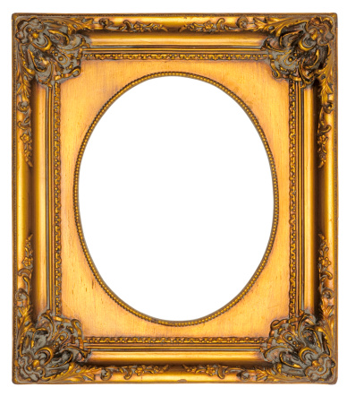 Frame - Border「Ornate Gold Oval Portrait Picture Frame. Isolated with Clipping Path」:スマホ壁紙(9)