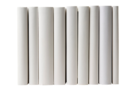 Book Spine「Row of blank books spine on white background」:スマホ壁紙(7)