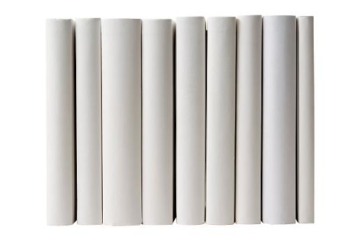 Standing「Row of blank books spine on white background」:スマホ壁紙(1)
