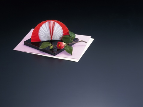 Fan Shape「A bunch of Japanese ornaments, High Angle View, Copy Space」:スマホ壁紙(1)