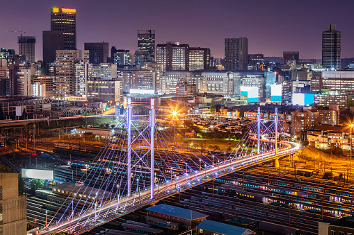 South Africa「Johannesburg cityscape with Nelson Mandela bridge」:スマホ壁紙(15)