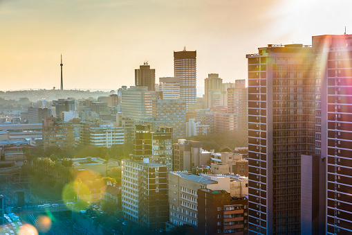 South Africa「Johannesburg city sunflare sunset with Sentech tower」:スマホ壁紙(19)