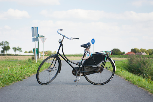 Netherlands「Vintage black typically Dutch bicycle with worn leather seat is propping up on bike path, Groningen, Netherlands 」:スマホ壁紙(4)
