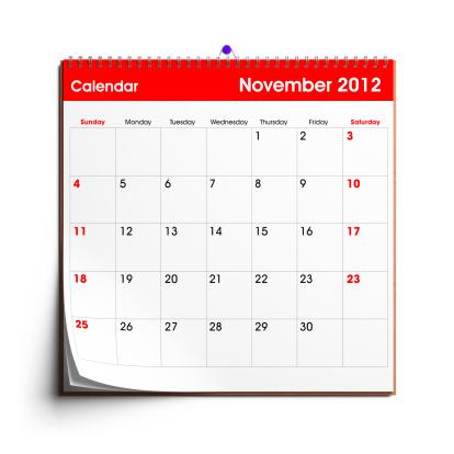 月「壁掛けカレンダー 2012 年 11 月」:スマホ壁紙(4)