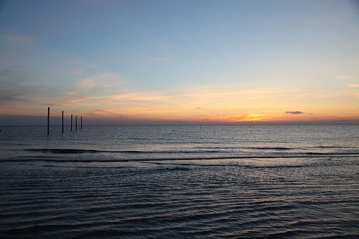 海「logs in the sea at sunset」:スマホ壁紙(6)