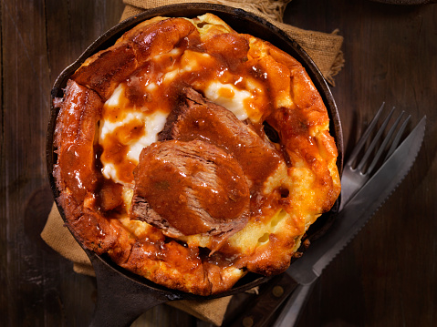 Cast Iron「Skillet Yorkshire Pudding with Pot Roast and Mashed Potatoes」:スマホ壁紙(7)