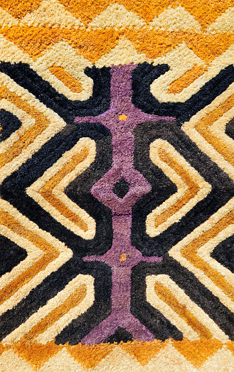 Democratic Republic of the Congo「Detail of African traditional Kasai velvet woven by Kuba tribe」:スマホ壁紙(9)