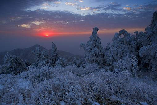 雪景色「Heng Mountain snow in Hengyang,Hunan province,China」:スマホ壁紙(14)