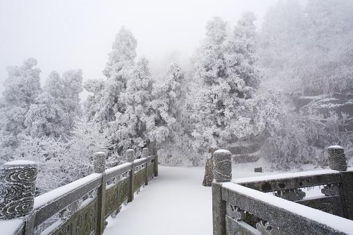 雪景色「Heng Mountain snow in Hengyang,Hunan province,China」:スマホ壁紙(16)