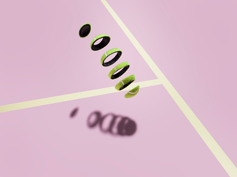 Part Of「Sliced tennis ball meets its shadow on court」:スマホ壁紙(2)