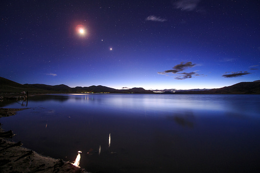 Solar System「Conjunction of the moon, Jupiter and Venus above Yamdrok Lake in Tibet, China.」:スマホ壁紙(2)