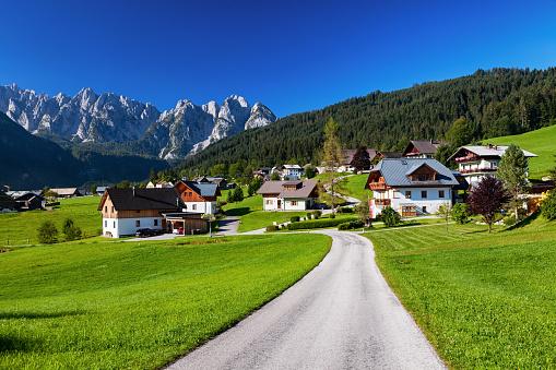 Dachstein Mountains「View of Gosau valley, Salzkammergut, Austria」:スマホ壁紙(19)