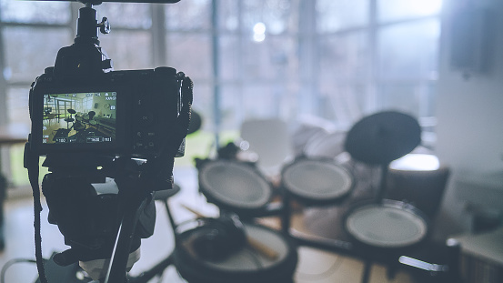 Rock Music「Rehearsal studio in living room. Electronic drums and recording camera close up」:スマホ壁紙(7)