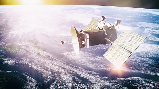 Astronomy「Satellite on planet background」:スマホ壁紙(5)