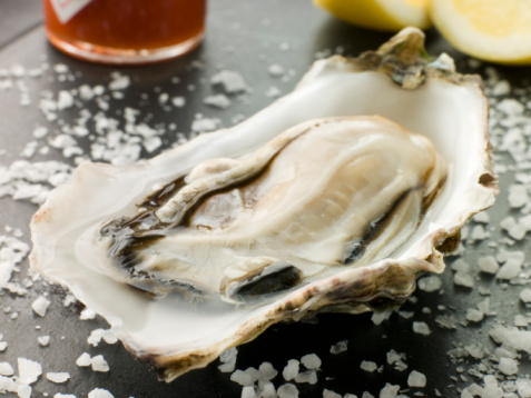Chili Sauce「Opened Rock Oyster with Hot Chilli Sauce Lemon and Sea Salt」:スマホ壁紙(1)