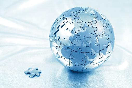 Map of the world「世界のパズルブルー」:スマホ壁紙(14)