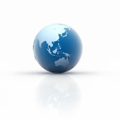 East Asia「Blue Globe on white Background, Asia」:スマホ壁紙(19)