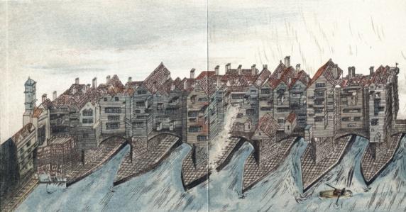 London Bridge - England「Part of Old London Bridge, England, 1600」:スマホ壁紙(2)