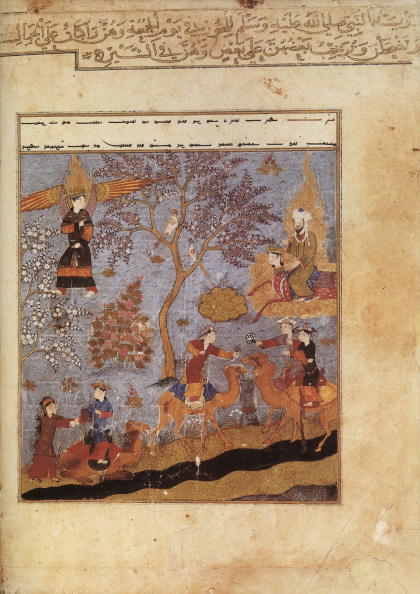 """Heaven「Muslim prophet Muhammad on the Bouraq is going in the heaven in presence of the angel Gabriel, illumination from manuscript """"Miradj-name"""" by Mir Haydar, Afghanistan, 1436」:写真・画像(1)[壁紙.com]"""