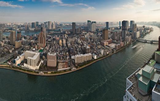 Minato Ward「Tokyo aerial vista Sumida Gawa harbor islands cityscape panorma Japan」:スマホ壁紙(16)