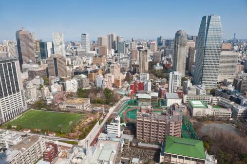東京都中央区「上空から見た東京の高層ビル街の眺めをもつアパートメント家、日本のオフィス」:スマホ壁紙(5)