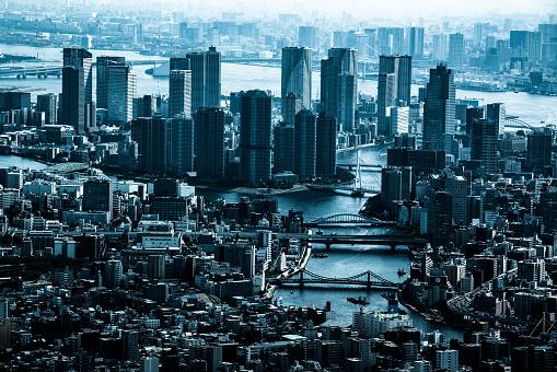 Minato Ward「Tokyo aerial panorama across skyscraper cityscape」:スマホ壁紙(17)