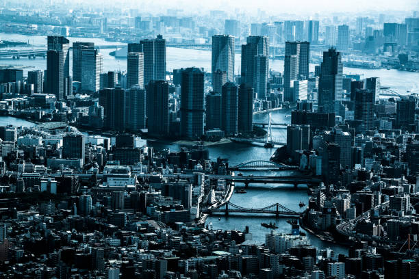 Tokyo aerial panorama across skyscraper cityscape:スマホ壁紙(壁紙.com)