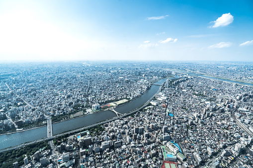 Tokyo Tower「Tokyo aerial panorama across skyscraper cityscape」:スマホ壁紙(3)