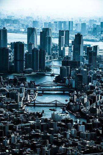 Minato Ward「Tokyo aerial panorama across skyscraper cityscape」:スマホ壁紙(3)